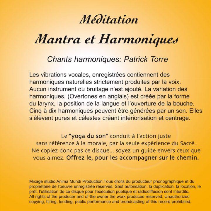 CD Mantra Méditation et Harmoniques de Patrick Torre pour la méditation