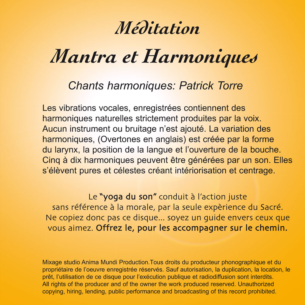 cd m ditation mantras et harmonique patrick torre. Black Bedroom Furniture Sets. Home Design Ideas
